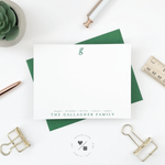 classic monogram note cards customized with last name