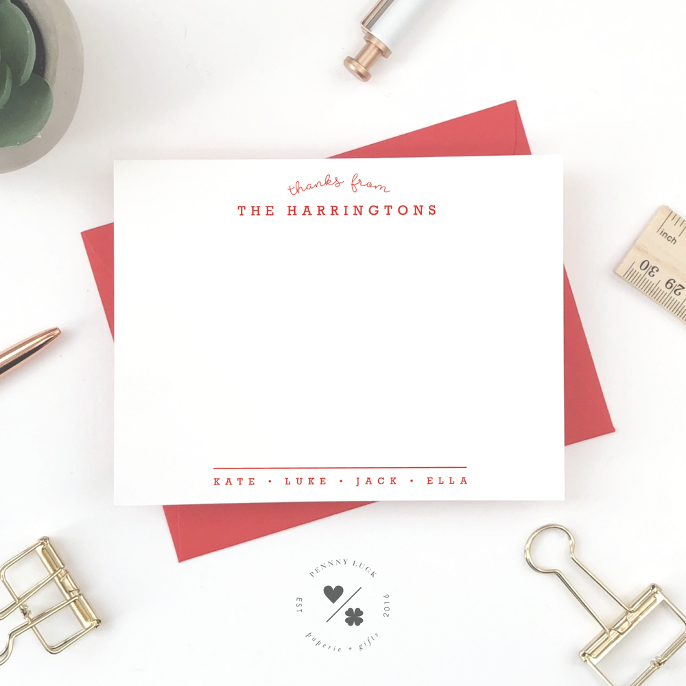customizable thank you notecards with family name personalization