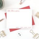 customizable notecards with family name personalization