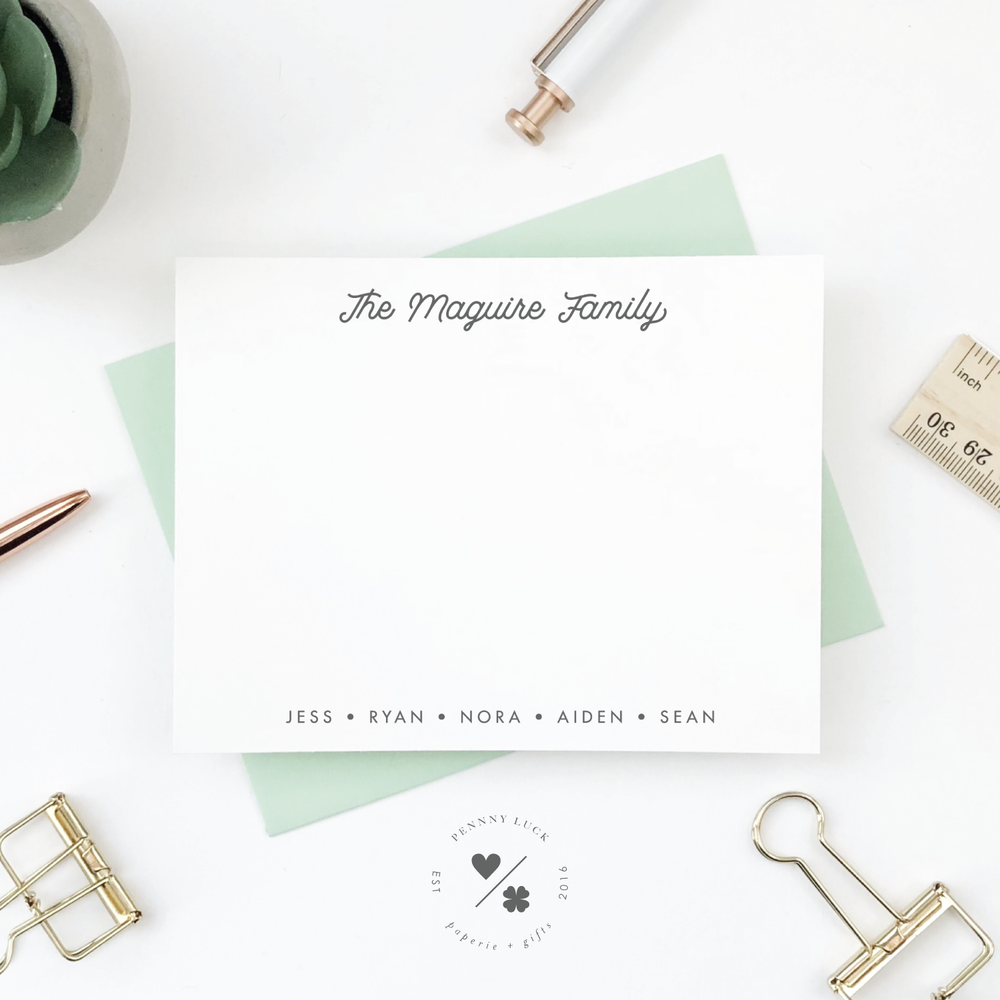 personalized stationery notecards for families