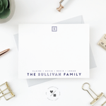 monogram flat notecards for families