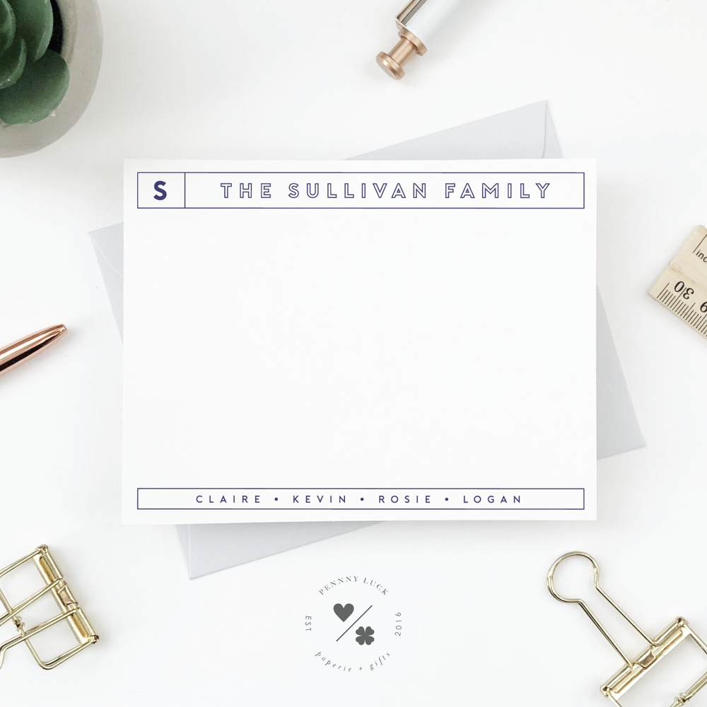 personalized flat notecards for families
