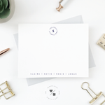 personalized monogram flat notecards for families