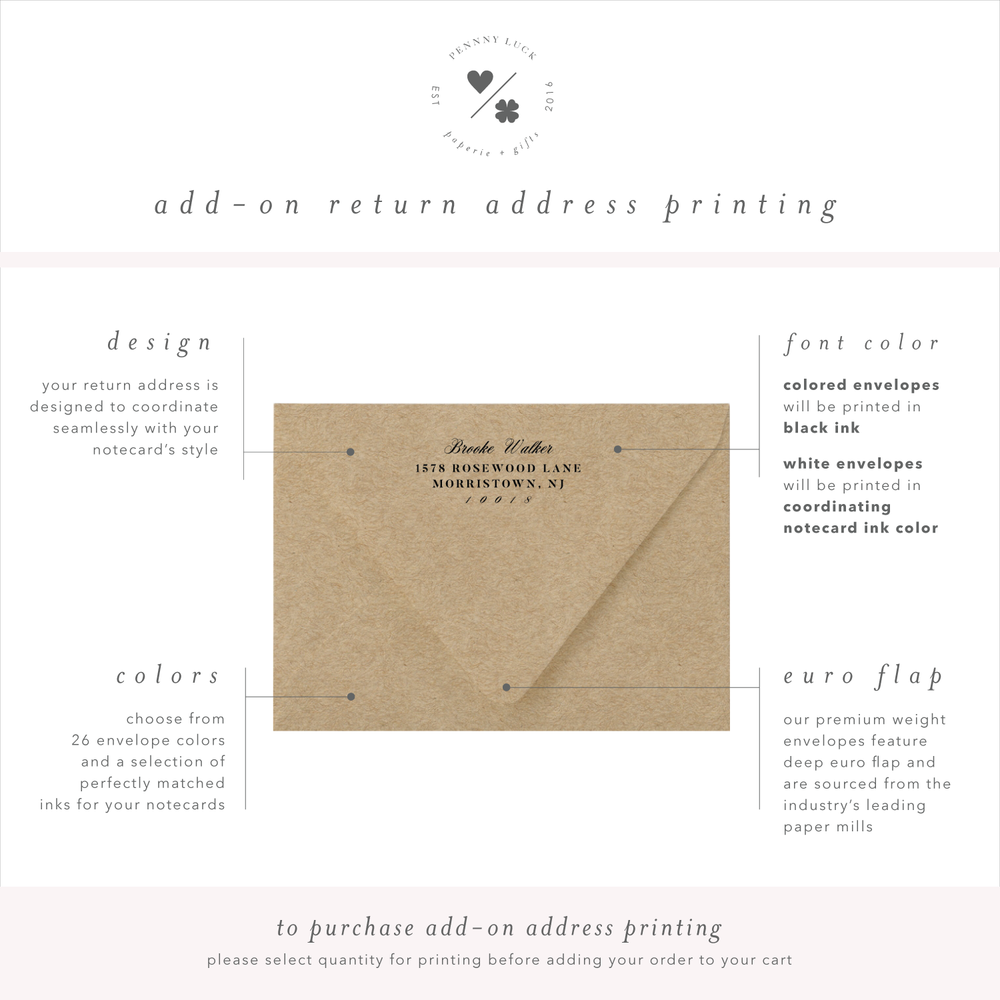 return address printing for personalized note cards