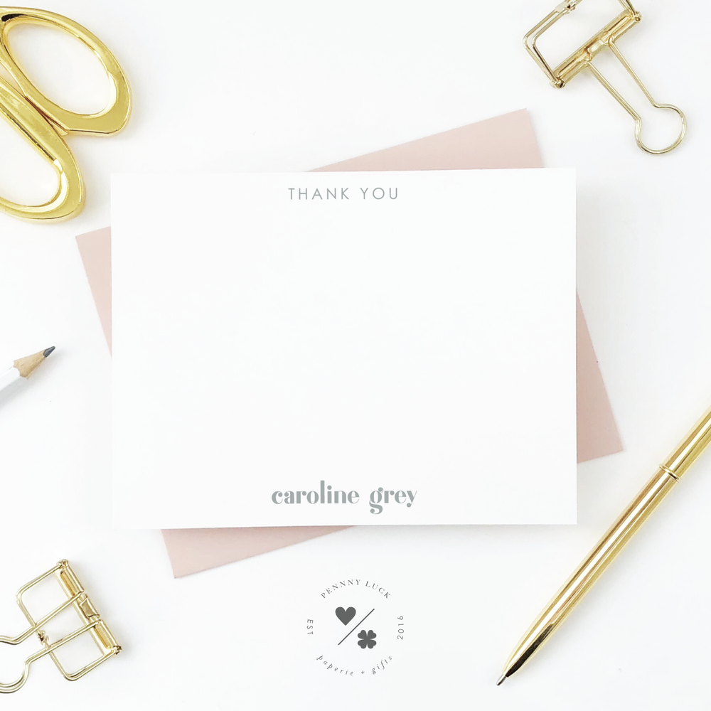 modern personalized thank you notecard set