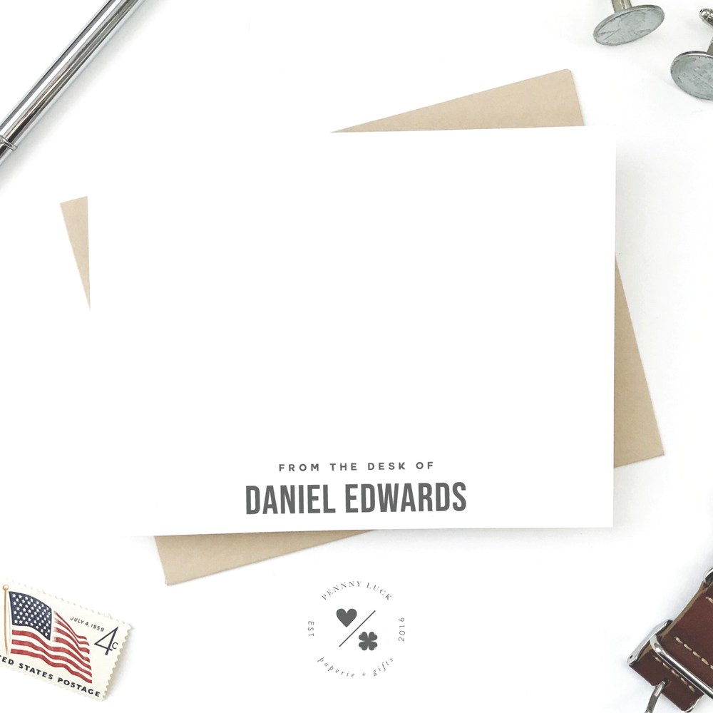 personalized modern stationery set for him