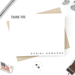 personalized modern thank you note cards for him