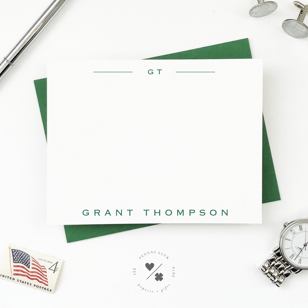 personalized monogram classic note cards for men