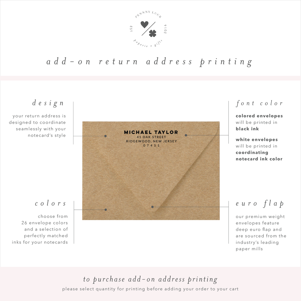 return address printing for mens modern stationery • penny luck paperie