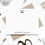 hipster mustache and glasses custom stationery for kids