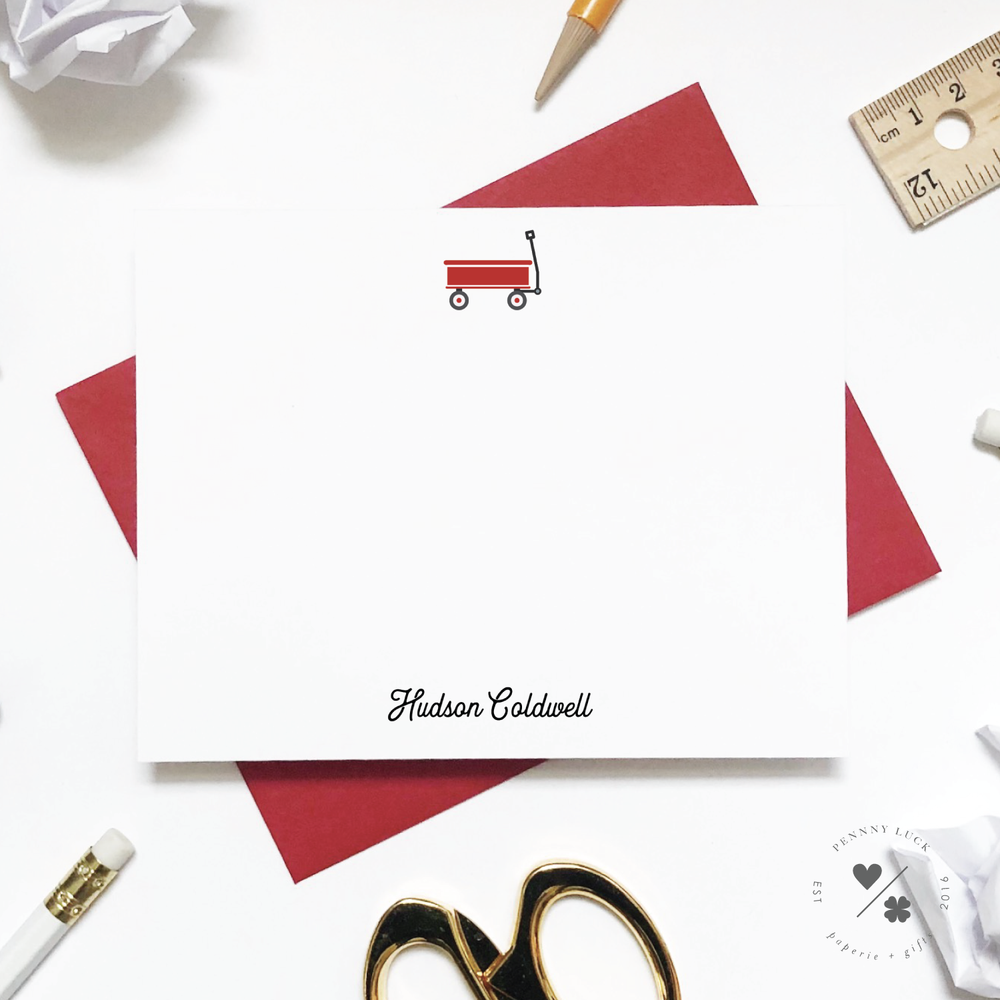 red wagon custom stationery for kids