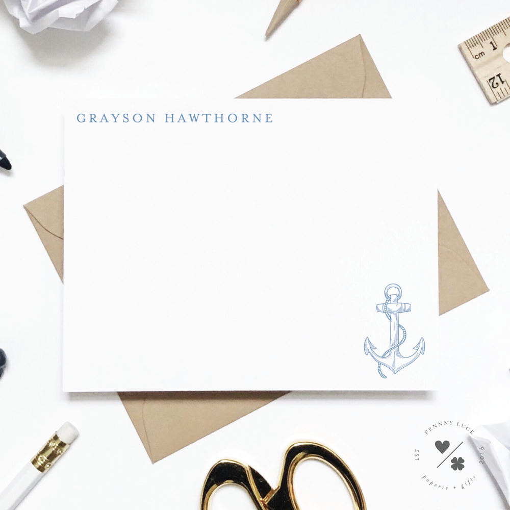 anchor and nautical themed personalized stationery for kids