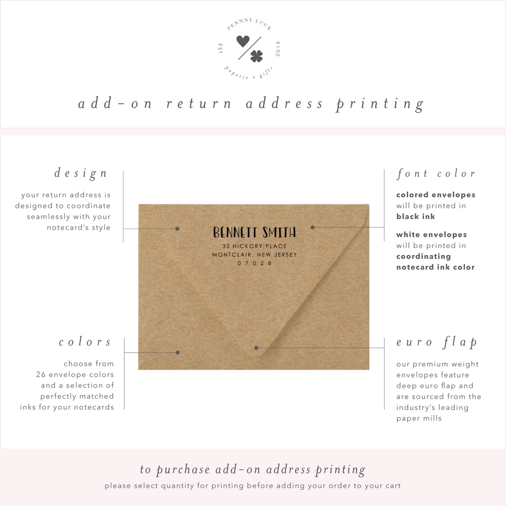 return address printing for kids stationery • penny luck paperie