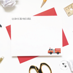 fire truck custom thank you cards and stationery sets for children