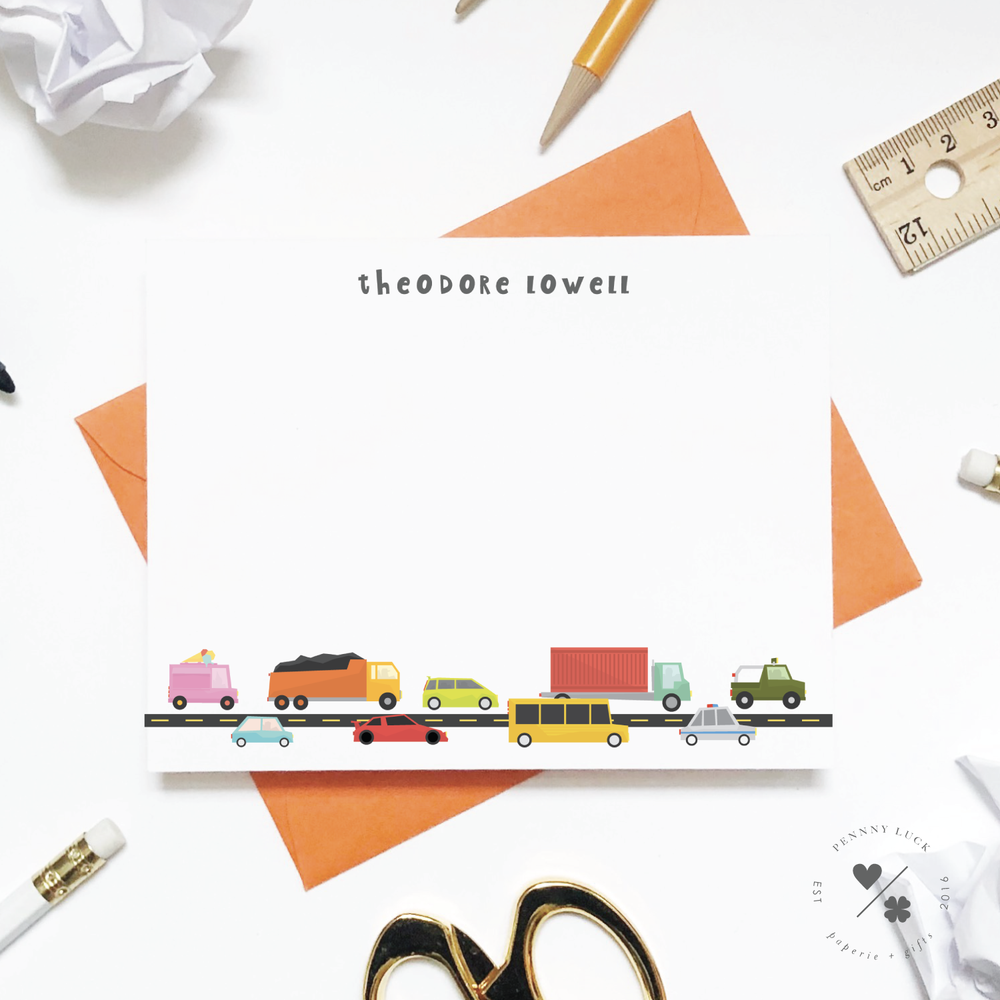 cars custom thank you cards and stationery sets for children