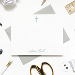 simple cross personalized baptism thank you cards