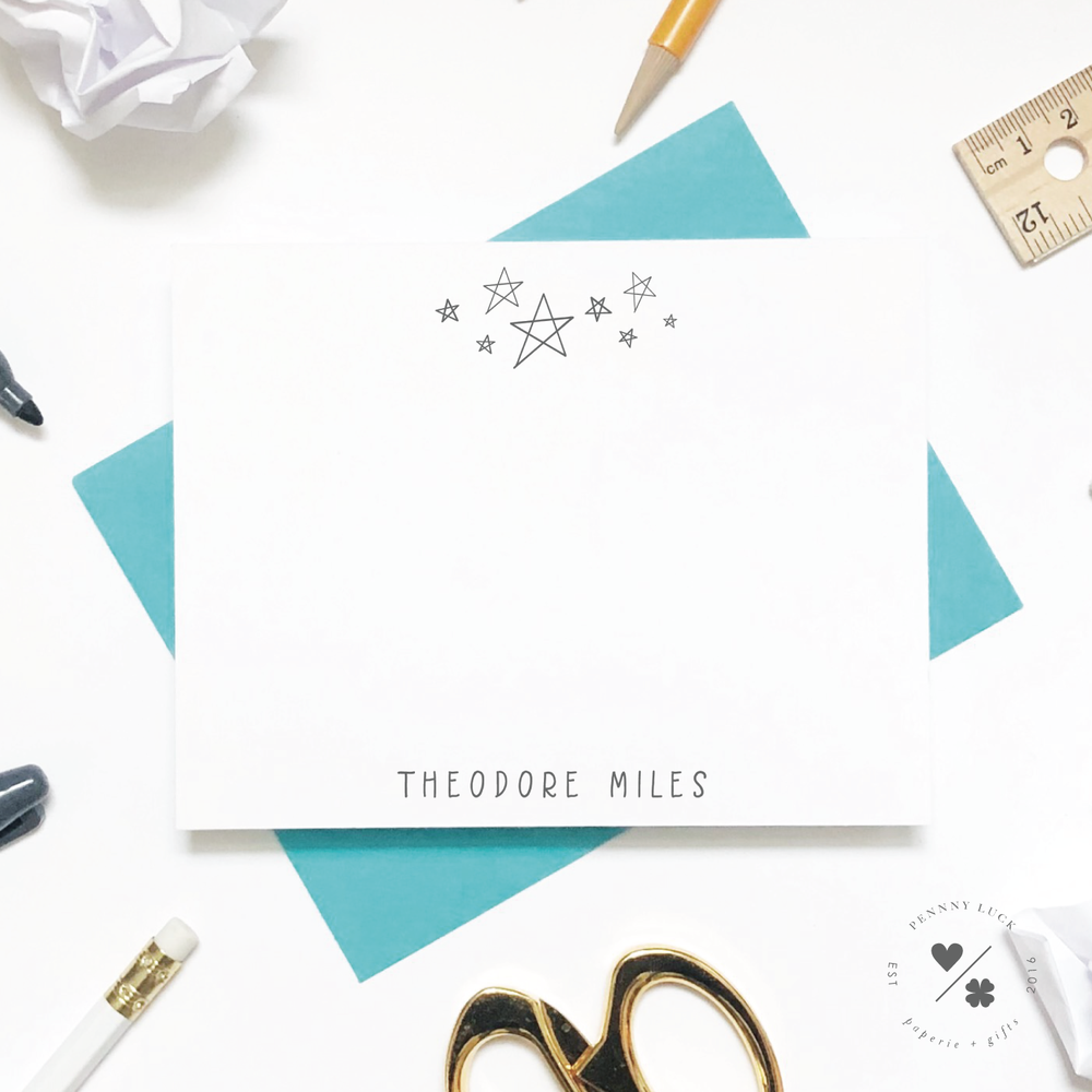 hand drawn stars customizable note cards for kids