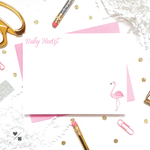 personalized flamingo stationery for kids