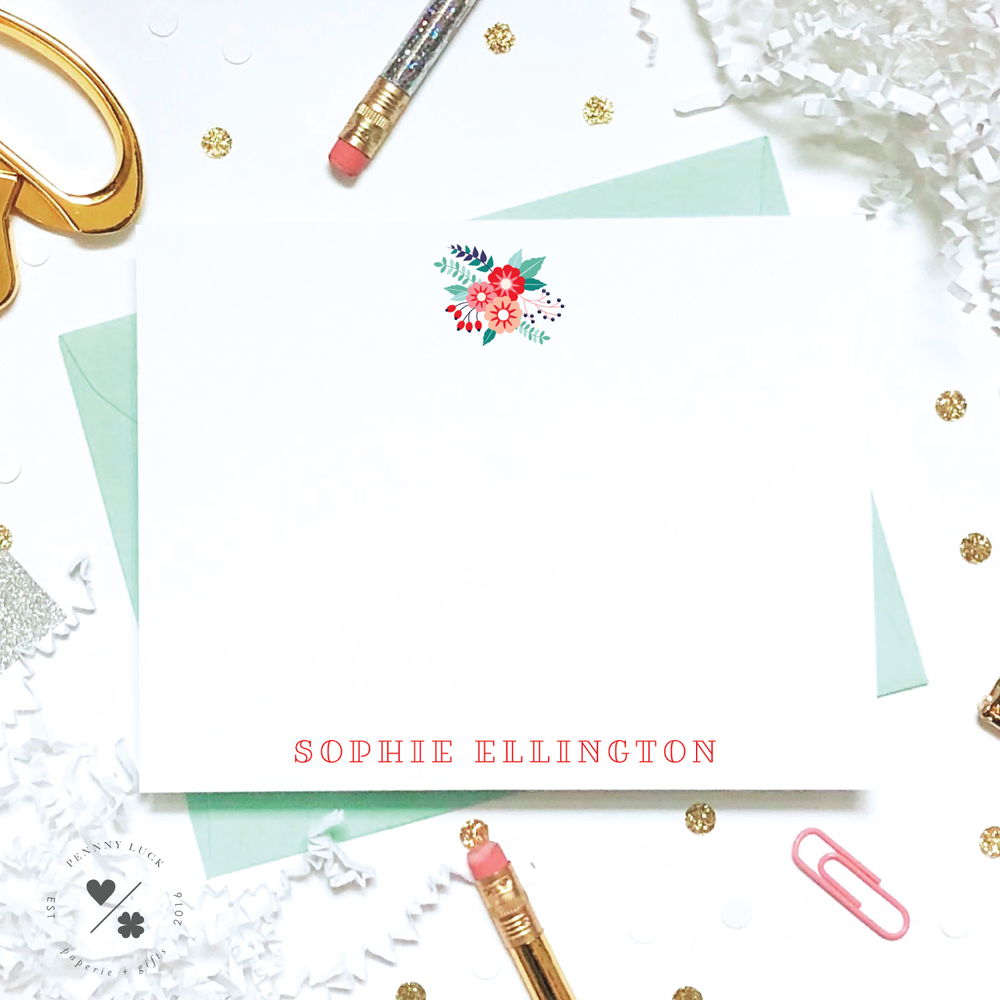 personalized flower stationery for kids