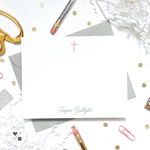 simple cross childrens stationery set for baptism thank you cards and communions