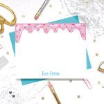 fun personalized sprinkled donut note cards for kids