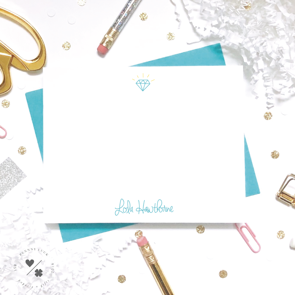 fun personalized diamond note cards for kids