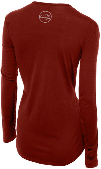 Merino Wool Women's Long Sleeve Top | Crew Neck Shirt | Rust Ochre