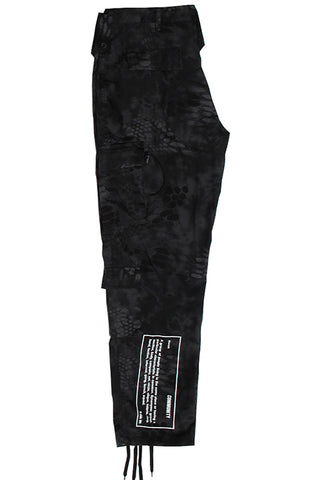 Black Camo Cargo Pants - White Community Print