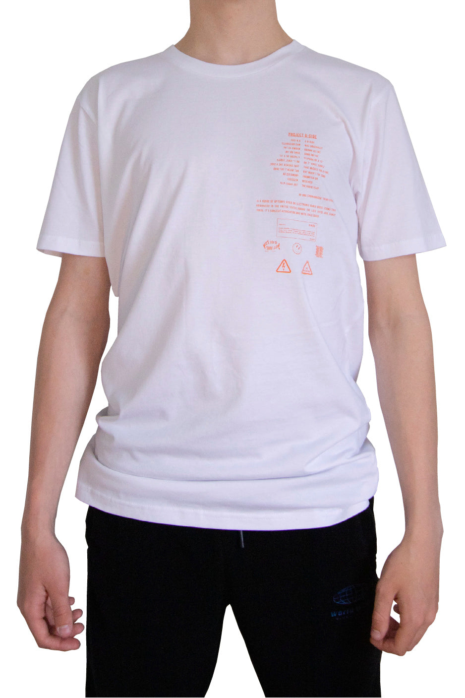 White T-Shirt-  Project B Orange Print