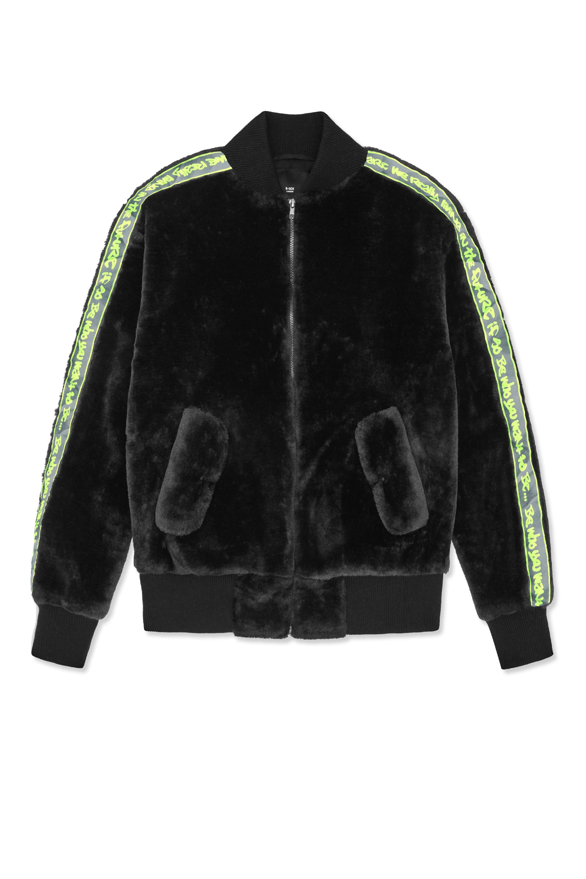 LOGO TAPE FAUX FUR BOMBER JACKET