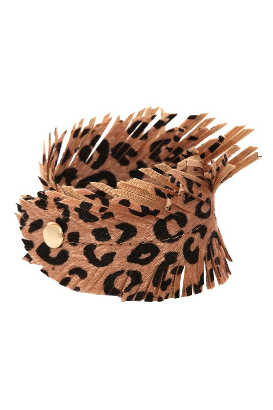 Brown Leopard Fringe Bracelet - Backwards Boutique