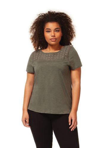 Plus size Crew Neck Top with Crochet Insert - Backwards Boutique