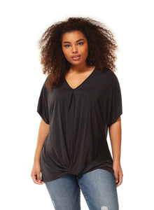 Plus Size Black Front Twisted Hem