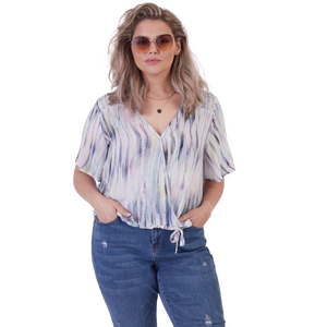 Plus Dex Watercolor Wrap Blouse - Backwards Boutique