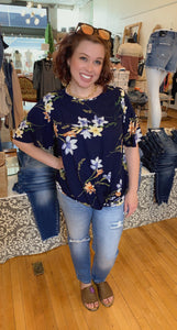 Plus Summer Floral Twisted Top - Backwards Boutique