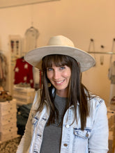 Load image into Gallery viewer, Wide Brim Ivory Wool Hat - Backwards Boutique