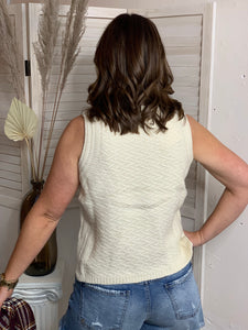 Frosted Vanilla Sweater Tank - Backwards Boutique