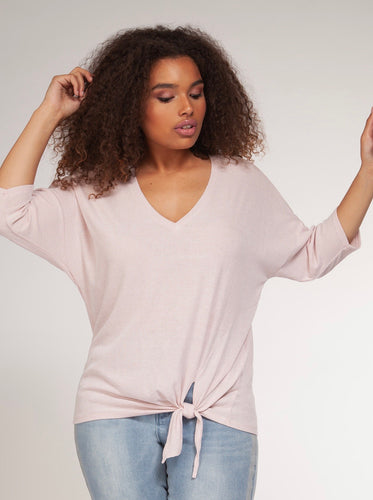 Dex Blush Knot Front  Top - Backwards Boutique