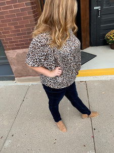 Plus Leopard Knot Top