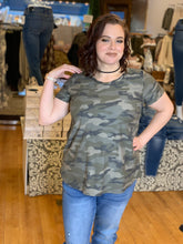 Load image into Gallery viewer, Plus Be Brave Camo Top - Backwards Boutique
