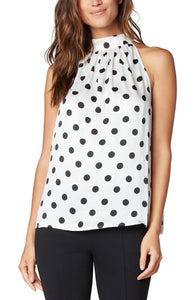 Liverpool Mock Neck Dot Tank - Backwards Boutique
