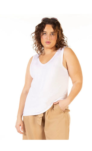 Dex Plus Reversible Tank -white - Backwards Boutique
