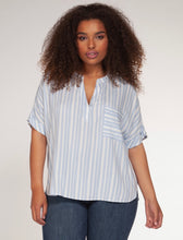 Load image into Gallery viewer, Dex Plus Powdered Blue Striped Top - Backwards Boutique
