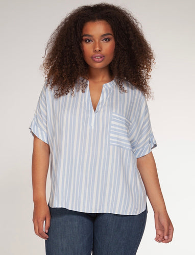 Dex Plus Powdered Blue Striped Top - Backwards Boutique
