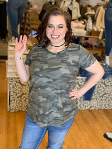 Plus Be Brave Camo Top - Backwards Boutique