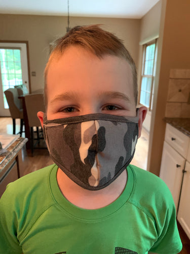 Kids Face Mask - Heather Grey Camo (Boy) - Backwards Boutique
