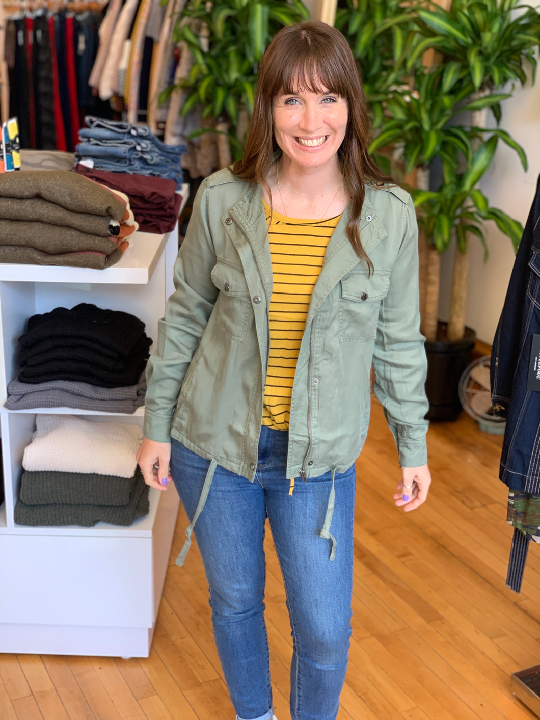Summer Fun Olive Jacket - Backwards Boutique