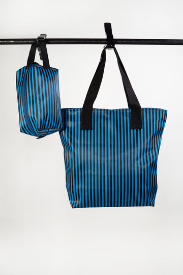 Striped Nylon Tote Set
