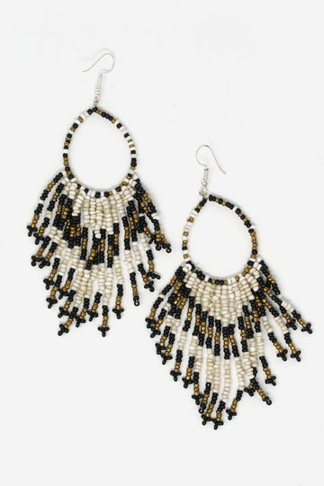 Beaded Bali Hoop Earrings