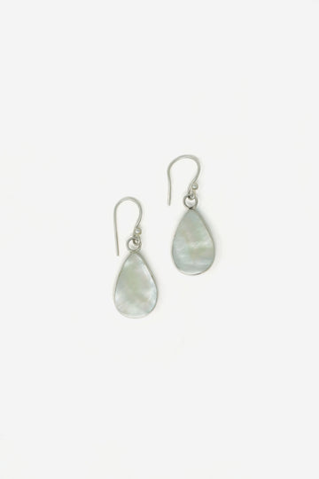 Silver & Stone Teardrop Earrings